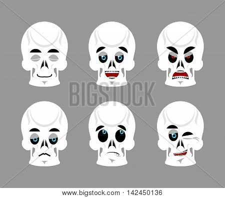 Emotions Skull. Set Expressions Avatar Skeleton. Good And Evil Dead. Discouraged And Cheerful. Sad A