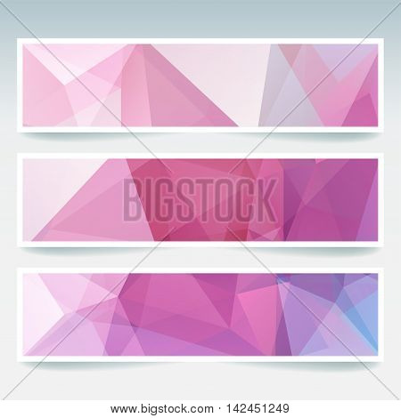 Vector Banners Set With Polygonal Abstract Triangles. Abstract Polygonal Low Poly Banners. Pink, Whi