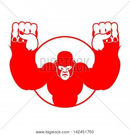 Angry Gorilla. Aggressive Big Monkey. Irritated Wild Animal. Logo For Sports Team