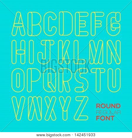 26 English alphabets are created in light and simple style with cleared line.