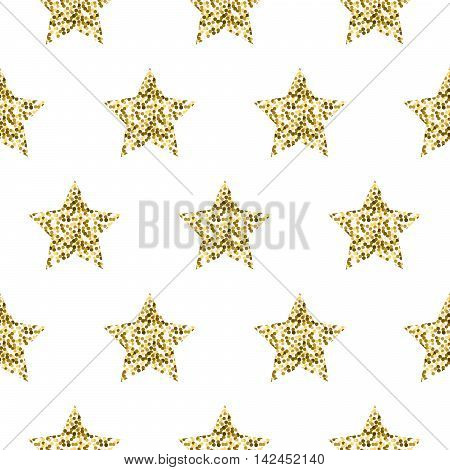Gold foil shimmer glitter star white seamless pattern. Vector shimmer abstract stars golden texture. Sparkle shiny background.