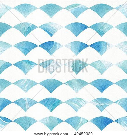 Seamless blue and aqua pattern based on white watercolor paper and hand drawn with brush and liquid ink circles in fan texture. Geometric illustration