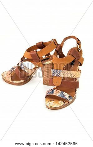 Pair of womens open-toe sandals decorated snake leather isolated on white.