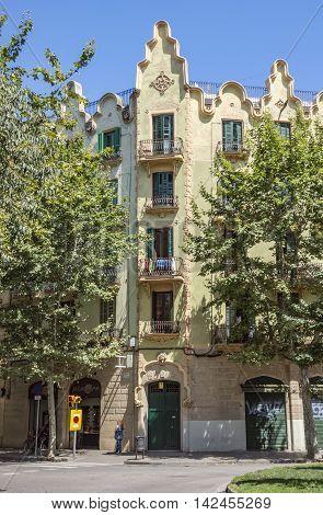 BARCELONA SPAIN - JULY 7 2016: Architecture along Rambla del Poblenou street in Barcelona Spain