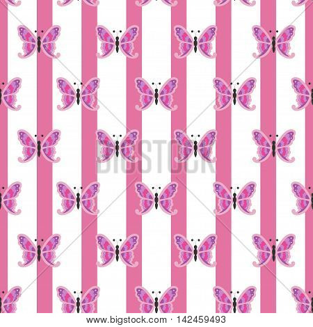 Repetitive butterfly on a striped pink and white background poster