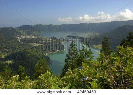 azores lake of Sete Cidades, at Sao Miguel island, Portugal