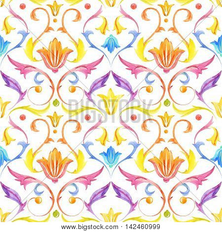 Beautiful pattern with nice victorian watercolor ornament