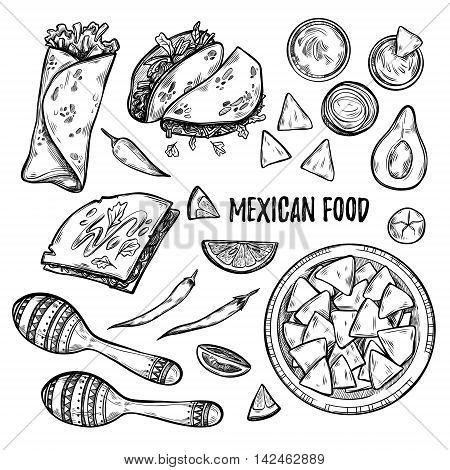 Hand drawn vector illustrations - Mexican food (tacos nachos burritos chili pepper avocado sauce tomato maracas). Sketch. Template for your design
