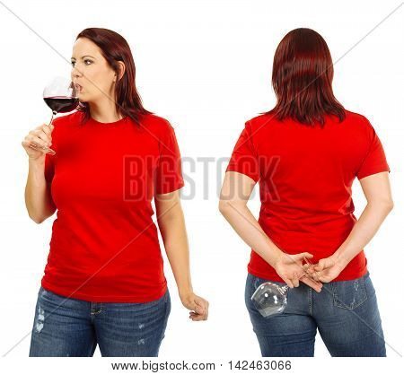 Photo of a woman posing with a blank red t-shirt drinking red wine ready for your artwork or design.