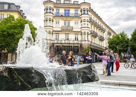 BADEN-BADEN, GERMANY - JUIY 31, 2016: Historic center of Baden-Baden. Baden-Baden is the most visited resort in Germany.