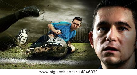 Portrait of Soccer player on the field in night rain poster
