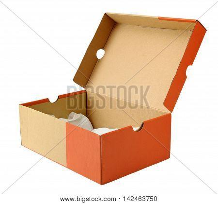 Empty shoe box isolated on white background