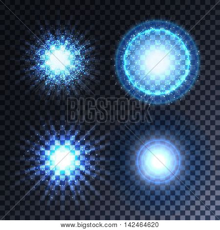 Set of four glowing light effect stars bursts with sparkles. Transparent stars. Vector illustration eps10.