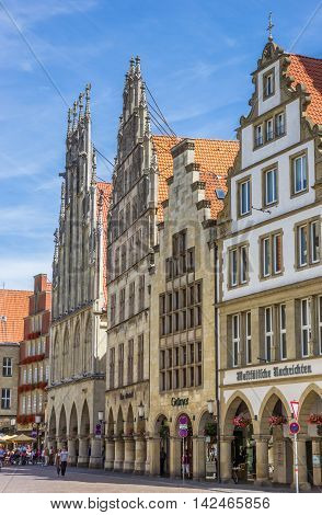 MUNSTER, GERMANY - AUGUST 7, 2016: Historical town hall in the center of Munster, Germany