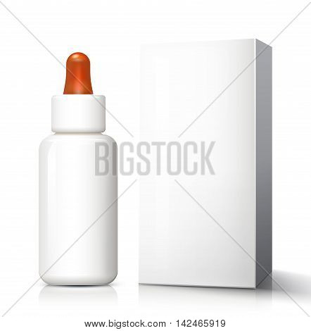 White Medical Glass Bottle With Dropper Pipet Pipette Eyedropper Eyedrops. Ready For Your Design. Product Packing.