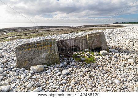 World War Two Pillbox Sinking Into Pebbled Beach, Aberthaw