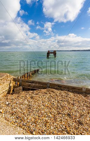 WWII Pier Heads used to load ships for D-Day French Landings. Lepe Country Park Exbury Southampton Hampshire England United Kingdom