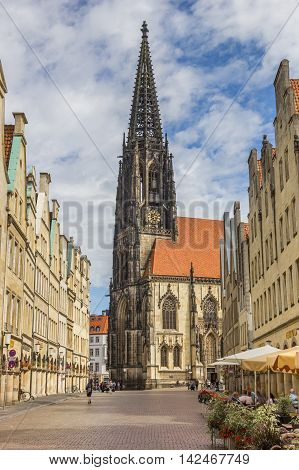MUNSTER, GERMANY - AUGUST 7, 2016: Lamberti church at the Prinzipal market in Munster, Germany