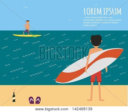 Male surfer riding on waves in the sea. Surfing character. Cute surfer. Vector illustration in flat. Summer vacation background