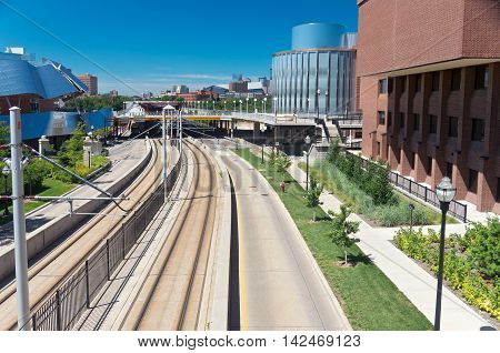 MINNEAPOLIS, MINNESOTA/USA - JULY 29, 2016: Washington Avenue Mall at University of Minnesota along the Green Line transit corridor. Washington Avenue connects the East and West Bank areas of campus.