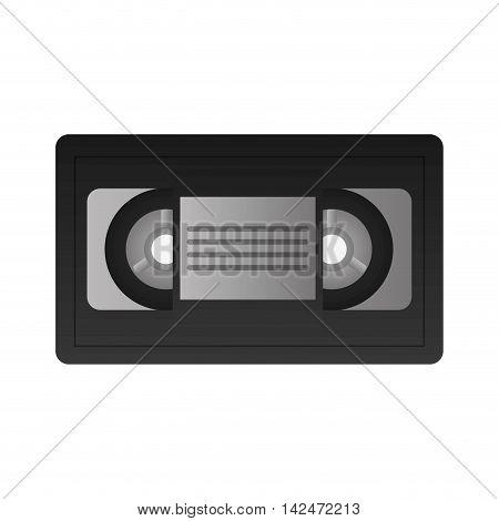 flat design single videocassette icon vector illustration