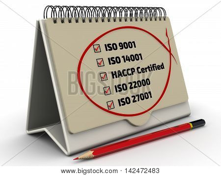 List of ISO standards with the checklist in the desktop organizer. List of ISO standards: iso 9001; iso 14001; haccp; iso 22000; iso 27001. Red pencil and a checklist with red marks. Isolated. 3D Illustration