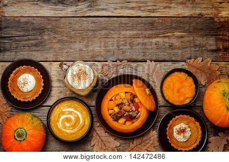List of pumpkin dishes. Pumpkin Latte; Pumpkin stuffed with meat and vegetables; pumpkin tartlet; pumpkin soup; pumpkin puree.