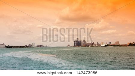 Skyline of the city Detroit in Michigan, USA