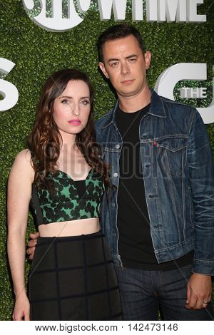 LOS ANGELES - AUG 10:  Zoe Lister-Jones, Colin Hanks at the CBS, CW, Showtime Summer 2016 TCA Party at the Pacific Design Center on August 10, 2016 in West Hollywood, CA