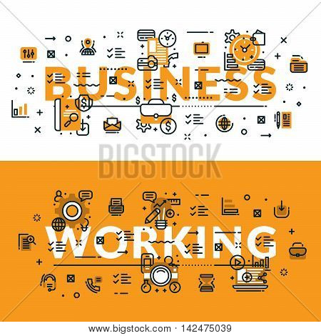 Business And Working Heading, Title, Web Banner. Horizontal Colored In White And Yellow Flat Vector