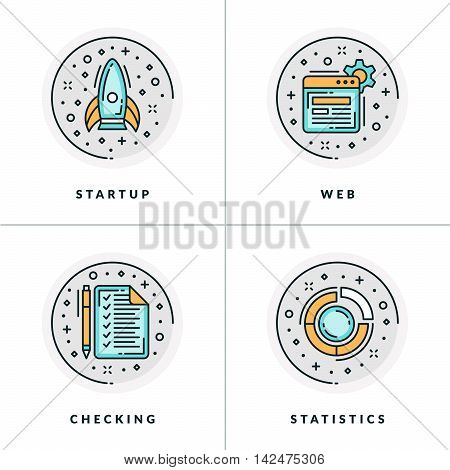 Business And Working. Set Of Four Icons On Startup, Web, Checking, Statistics. Colored In Gray, Oran