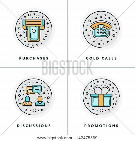 Business And Working. Set Of Four Icons On Purchase, Cold Calls, Discussions, Promotions. Colored In