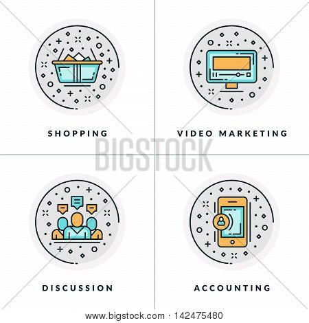 Business And Working. Set Of Four Icons On Shoppnig, Video Marketing, Discussion, Accounting. Colore