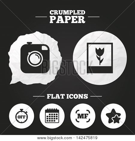 Crumpled paper speech bubble. Hipster retro photo camera icon. Manual focus symbols. Stopwatch timer off sign. Macro symbol. Paper button. Vector poster