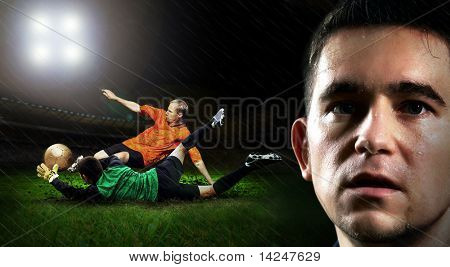 Portrait of Soccer player on the field in night rain