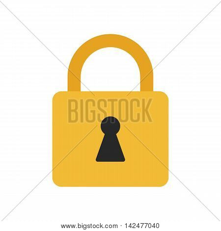 Flat icon locked padlock. Lock icon. Vector illustration.