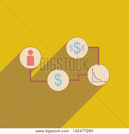 Flat web icon with long shadow  monetary infographics