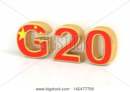 Summit G20 concept. Chinese G20 meeting 3D rendering