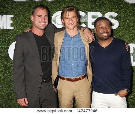 LOS ANGELES - AUG 10:  George Eads, Lucas Till, Justin Hires at the CBS, CW, Showtime Summer 2016 TCA Party at the Pacific Design Center on August 10, 2016 in West Hollywood, CA