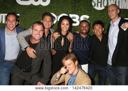 LOS ANGELES - AUG 10:  Guest, George Eads, Tristin Mays, Lucas Till, Justin Hires, James Wan at the CBS Summer 2016 TCA Party at the Pacific Design Center on August 10, 2016 in West Hollywood, CA