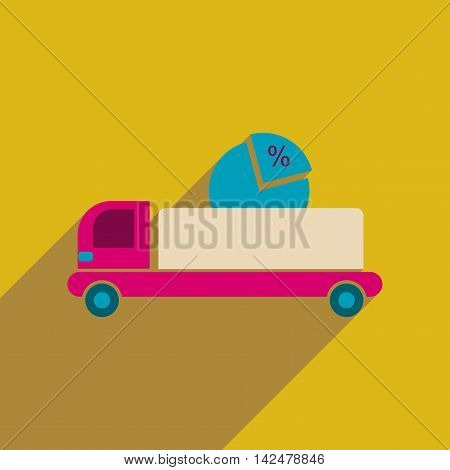 Flat web icon with  long shadow car chart