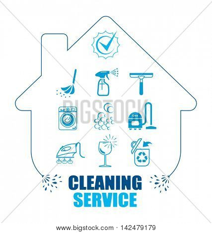 Set of icons for cleaning service. Pictogram vector illustration. All housework professional assistance.