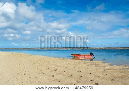 BEL OMBRE, MAURITIUS ISLAND - JUNE 16, 2016: Boats in Bel Ombre beach, Mauritius island, June 16, 2016