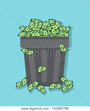 wastebasket filled with dollars on a blue background