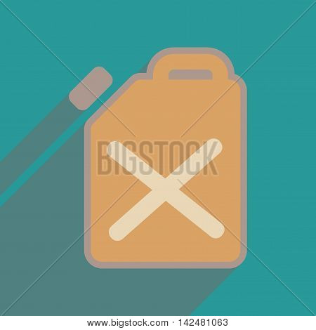 Flat web icon with long  shadow jerrycan