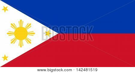 Flag of the Philippines in correct size proportions and colors. Accurate dimensions. Philippine national flag.