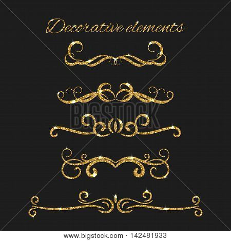 Text dividers set with gold. Ornamental decorative elements. Vector ornate design. Golden flourishes. Shiny decorative hand drawn borders with glitter effect. Calligraphic decorations with sparkles.