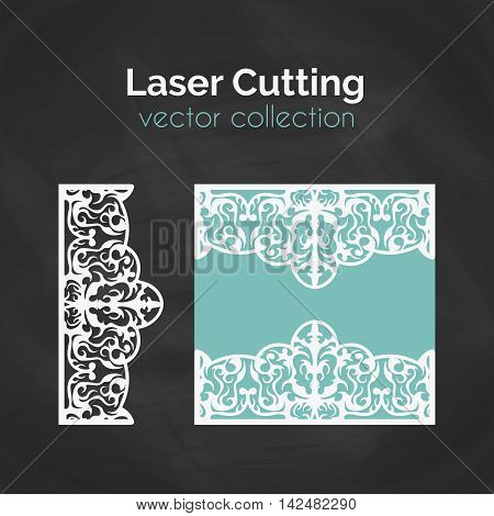 Laser Cut Card. Template For Laser Cutting. Cutout Illustration With Abstract Decoration. Die Cut Wedding Invitation Card. Vector Envelope Design.