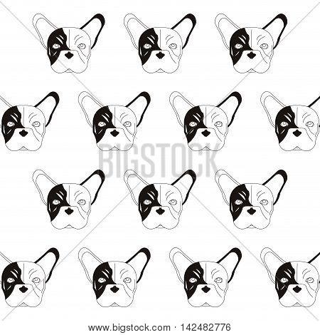 flat design french bulldog pattern icon vector illustration