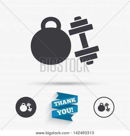 Dumbbell with kettlebell sign icon. Fitness sport symbol. Gym workout equipment. Flat icons. Buttons with icons. Thank you ribbon. Vector
